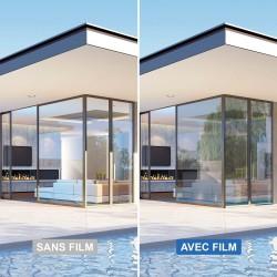 Film solaire anti chaleur pour vitrage teinte très claire effet miroir faible - rejet total énergie solaire 58%