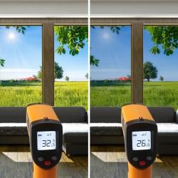 Film solaire électrostatique repositionnable Argent Clair - rejet de chaleur 59%