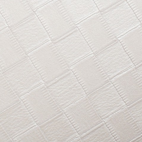 Rouleau adhésif décoratif effet Cuir Blanc à motifs Carrés
