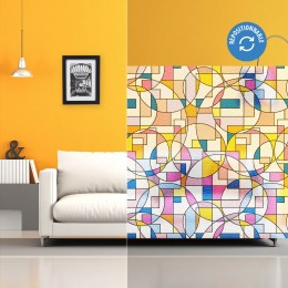 Film repositionnable à motifs géométriques colorés
