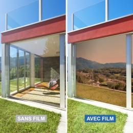 Film miroir sans tain repositionnable pour grand vitrage - Bronze