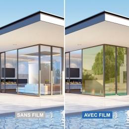 Film anti soleil et éblouissement métallisé doré rejet de chaleur 75%