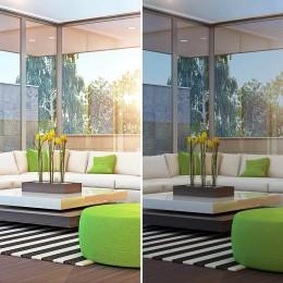 Film anti soleil teinté gris fumé foncé faible effet miroir pour vitrage pose extérieure énergie solaire rejetée 77%