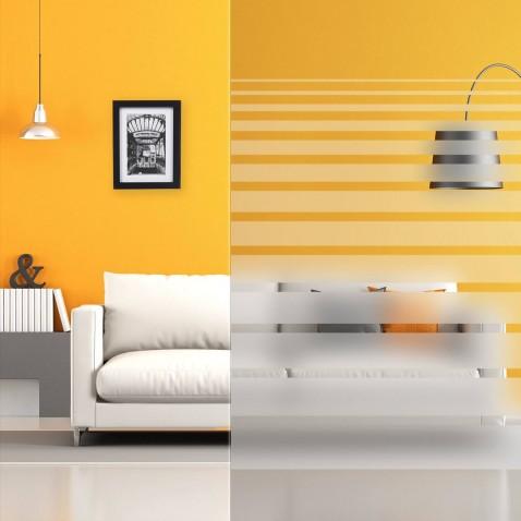 Filtre adhésif décoratif pour fenêtre avec bandes horizontales dégradées dépolies
