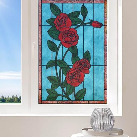 Film electrostatique fenetre fleurs rosier- couleurs au choix