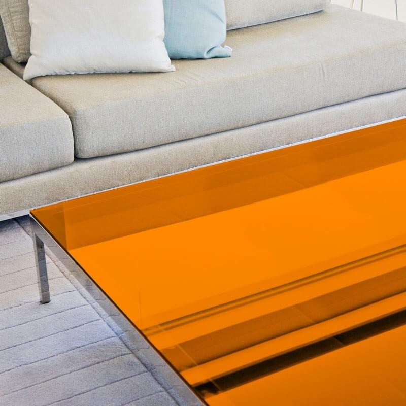 Film decoratif orange transparent pour table en verre