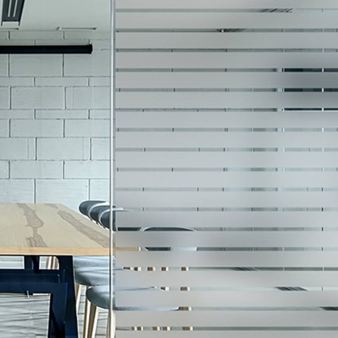 Film vitrage decoratif vitrage Bandes depolies larges 44 mm