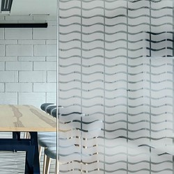 Film decoratif pour vitrage Bandes depolies ondulées 45mm
