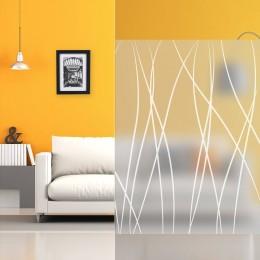 Film adhésif décoratif vitrage givré motif serpentins blancs