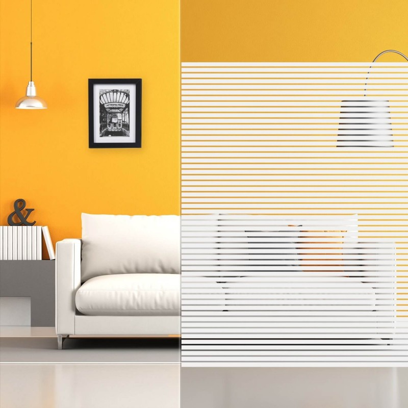 Film adhesif decoratif Bandes blanches regulieres 18-6mm