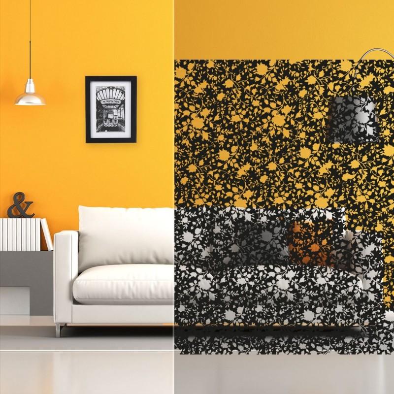 Film décoratif transparent à motif fleurs noires