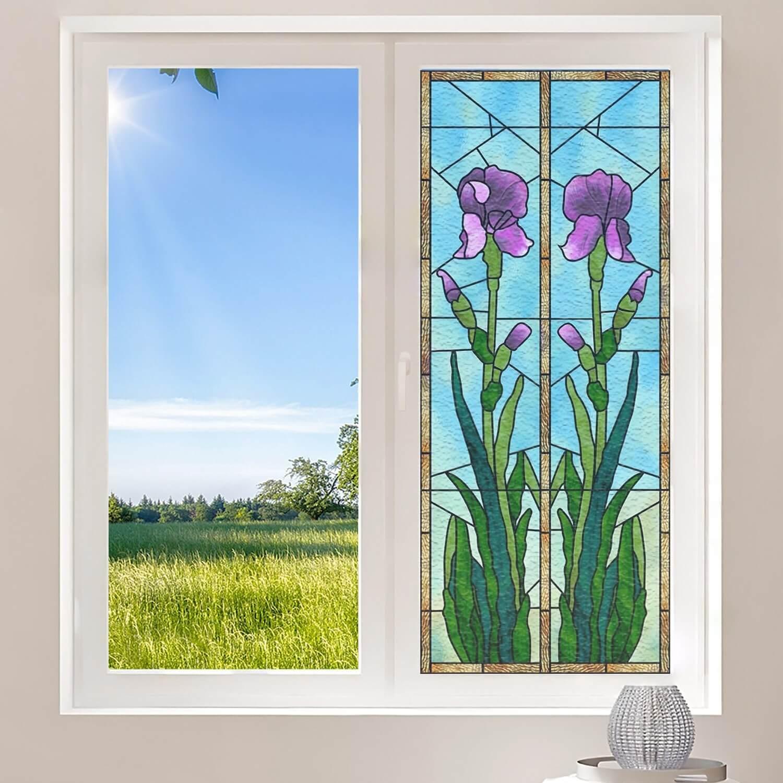 Iris violettes et encadré jaune