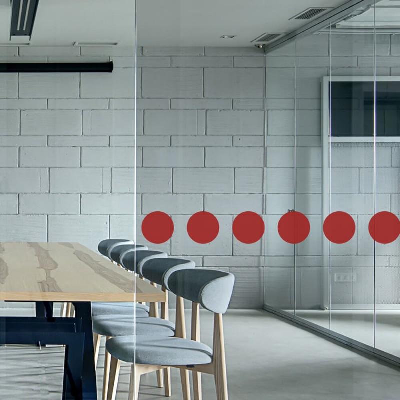 Ronds de signalisation pour vitrage avec 60 ronds rouges