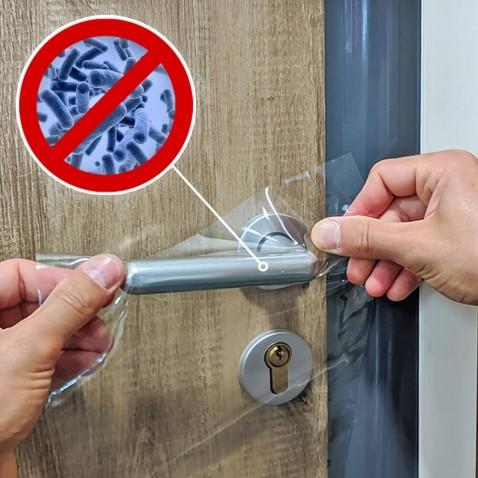 Film de protection anti virus pour poignées de portes intérieures - certifié contre les Coronavirus - 6 cm x 11,5 cm