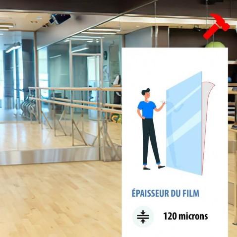 Film sécurité adhésif pour dos de miroir - 120 microns