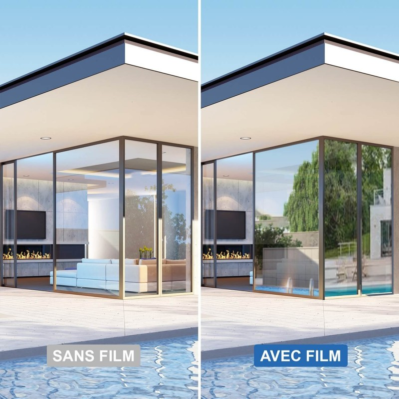 Film solaire anti chaleur Argent clair double vitrage - rejet total énergie solaire 67%