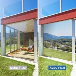 Film miroir sans tain Argent foncé pose exterieure - 75 microns