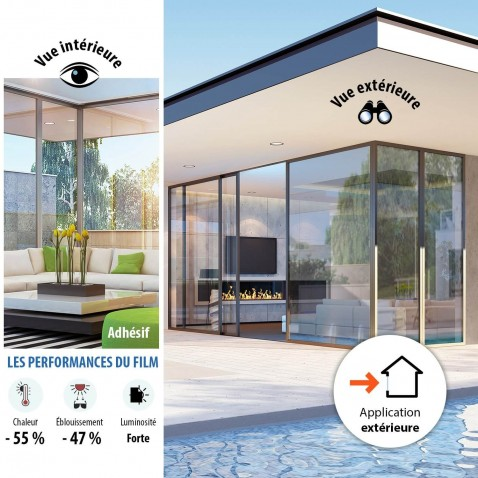 Film de protection solaire Clair peu miroitant pose extérieure rejet énergie solaire 55%