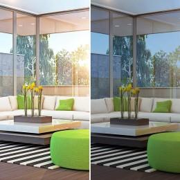 Film solaire anti chaleur simple vitrage foncé effet miroir réfléchissant fort - rejet total énergie solaire 79%