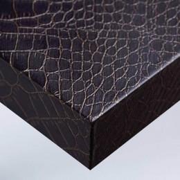 Revêtement mural cuir aspect crocodile chocolat