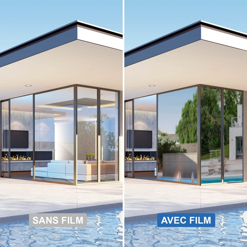 Film anti chaleur repositionnable pour double vitrage - alu foncé et noir foncé