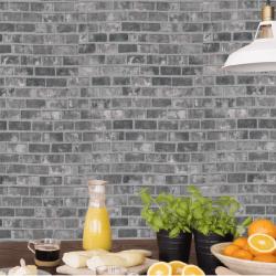 Papier peint adhésif effet brique grise